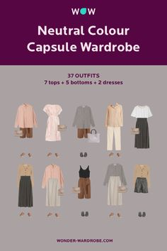 This capsule includes 2 dresses, 7 tops, 5 bottoms, 2 pairs of shoes, 2 bags that result in 37 versatile outfit combinations for summer.
