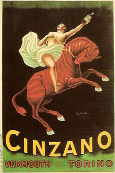 Vintage Italian Poster designed by Leonetto Cappiello, 1910, for Cinzano Vermouth
