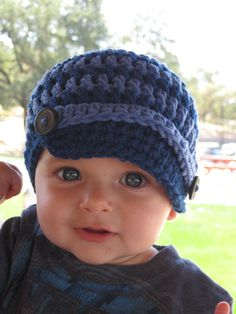 Baby Crochet Hat Newsboy Style. $18.00, via Etsy.  A little too trendy for Drew, but I think it's cute!