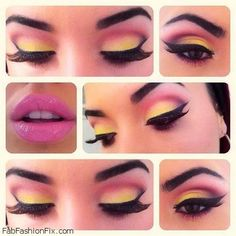 Get inspired with ombre eyes and pink lips makeup