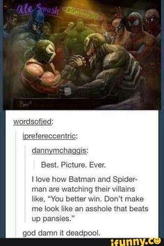 tumblrpost, tumblr, deadpool, spiderman, batman