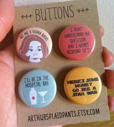 """Lucille Bluth pins, $8   15 Pieces Of """"Arrested Development"""" Merch You Need RightNow"""