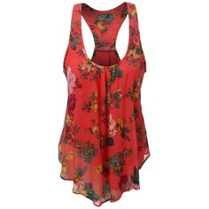 Uncinba Women's Plus Size Sleeveless Floral Chiffon Vest Tank... ($14) ❤ liked on Polyvore featuring tops, plus size camisoles, racerback tank top, racer back tank tops, plus size tanks and sleeveless vest