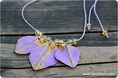 Violet Leaves necklace. $18.00, via Etsy.