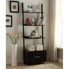Bring a dazzling look to your living space by choosing this Convenience Concepts American Heritage Black Ladder Bookcase with File Drawer. Ladder Bookshelf, Bookcase Shelves, Shelving, Bookcases, Bedroom Bookshelf, Bookshelf Design, Corner Shelves, Storage Drawers, Storage Spaces
