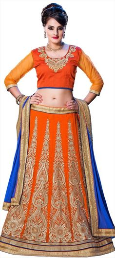 164863 Orange  color family Mehendi & Sangeet Lehenga in Georgette fabric with Border, Machine Embroidery, Patch, Stone, Thread work .