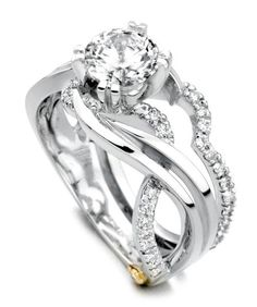 #167A 1CT - 14k white gold Enchantment 1.25cttw freeform round diamond engagement ring designed by Mark Schneider. This award winning engagement ring design has