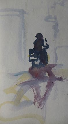 Kristan Baggaley. A watercolour sketch of a vespa and rider painted in Rome, 18th, October, 2014. Literally speeding moment. Holding the scene in ones mind. Painted in less than a minute.