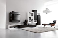Black and White Living Room Furniture with Functional Tv Stand – Creative Side System by Fimar | DigsDigs