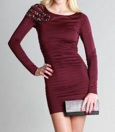 One Side Beaded Longsleeve Dress - KocoSky