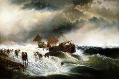Edward Moran A Shipwreck hand embellished reproduction on canvas by artist Costa, Oil Painting Reproductions, Ship Art, Old Master, Handmade Art, American Art, Art For Sale, Sailing Ships, Canvas Art Prints
