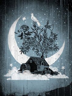 """Jon Smith's beautiful art print version of his 'Mumford and Sons' gigposter, """"Clouded House""""."""