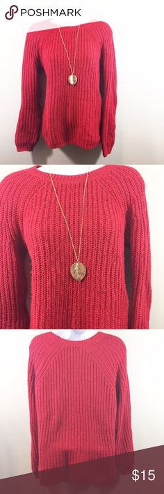 Red Crew Neck Knit Sweater The perfect warm and comfy sweater for those long winter days. Faded Glory Sweaters Crew & Scoop Necks