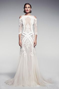 Wholesale a line wedding dresses pinterest, simple wedding gowns and bridal gown on DHgate.com are fashion and cheap. The well-made  Pallas Couture A-Line Bridal 2014 Lace Appliques Beads Straps Off The Shoulder 3/4 Long Sleeves Backless Sweep Train Sheer Wedding Dress sold by dresstop is waiting for your attention.