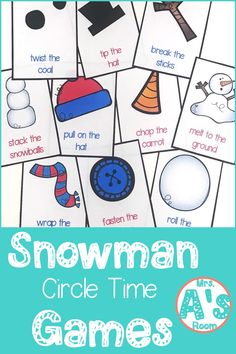 These ideas for snowman circle time games are a great way to get your kiddos learning and having fun all at the same time! These 9 activities are ready to print and use, and your preschool and kindergarten kiddos will love them! Circle Time Games, Circle Time Activities, Snow Activities, Group Activities, Kindergarten Themes, Preschool Games, Preschool Lessons, Preschool Winter, Montessori Kindergarten