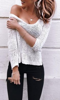 #outfit #ideas · Wool White Sweater // Ripped Jeans