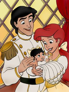 Little Mermaid's Ariel and Prince Eric with daughter Melody. Ariel is the only princess who has a child. Walt Disney, Disney Couples, Cute Disney, Disney Family, Disney Magic, Disney Pixar, Disney Girls, Princesa Ariel Disney, Disney Princess Ariel