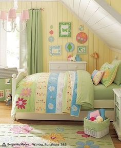 This would work for Tay's big girl room. Yellow walls ... wouldn't have to paint.:
