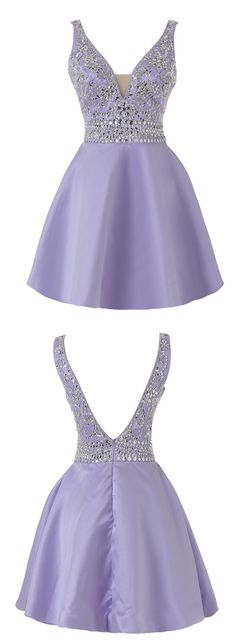 Real Photo V neck Lavender Short Homecoming