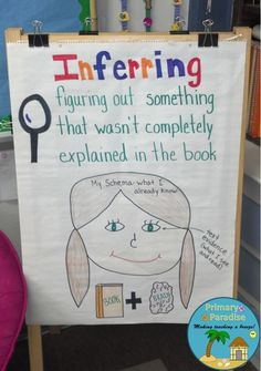 Inference anchor chart and lesson idea. Teach students to infer AND provide proof