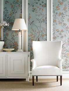 Have always loved this look. Decorating with wallpaper in molded panels