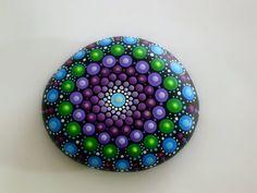 Bohemian dot art-mandala stone-painted rock-fall finds-autumn gift ideas-ooak 3D…