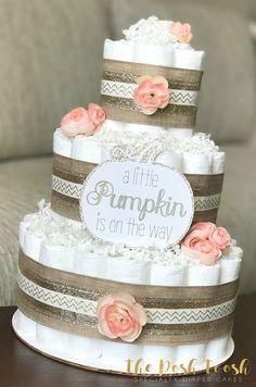 Pink Pumpkin Diaper Cake Baby Shower Centerpiece Decor Girl