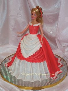 Barbie cake, red & white gown
