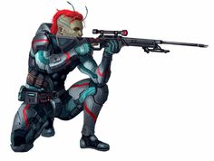 Lashunta Soldier - Starfinder RPG (Core Rulebook Art)