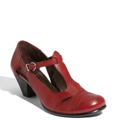 red t-strap
