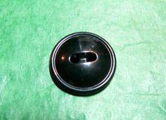 "1 - 3/4"" HARVARD? COLT BLACK PLASTIC 2-HOLE BUTTON - VINTAGE Lot#NL370"