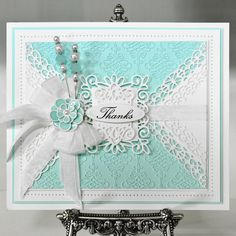 Gorgeous white and green #carddesign from Creative Expressions! Shop the full range now at C+C: http://www.createandcraft.tv/search/creative%20expressions?fh_location=//CreateAndCraft/en_GB/$s=creative%20expressions&gs=creative%20expressions #cardmaking #papercraft