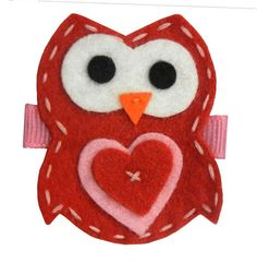 Owl Hair Clip: Red, Felt Owl with Heart on Pinch Clip for Baby, Toddler, or Girl, $10.99