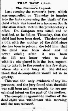Genealogical Gems: On This Day: Coroner Inquest clears mother in dead...