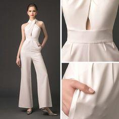 Modern / Fashion Ivory Jumpsuit 2019 Halter Sleeveless Ankle Length Backless Evening Dresses