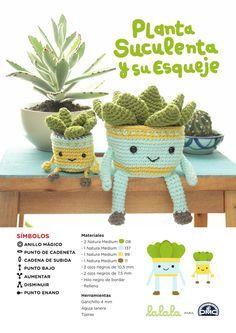 Patrón para hacer una planta suculenta y su esqueje de amigurumi con Natura Medium. Patrón de Lalala Toys http://www.lalalatoys.com/ para DMC España www.dmc-es.com