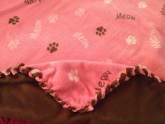 "#Pink #Brown #kitty #cat #paws #braided #fleece #blanket 54""x90"" June2014"