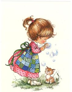 Vintage Dutch 1970s postcard of a little Girl blowing Bubbles - Sarah Kay style