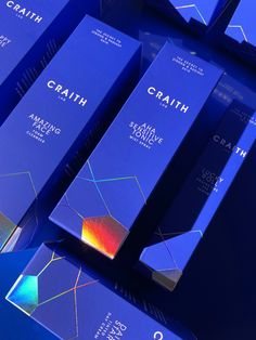 Branding and packaging by Obidesign for Craith Lab. A new revolutionary skin care brand based on epigenetics. With holographic foil and pantone Foil Packaging, Coffee Packaging, Identity Design, Visual Identity, Holographic Foil, Samsung Galaxy S6, Package Design, Shirt Ideas, Packing
