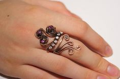 copper with purple and white crystal ring adjustable wire wrapped jewelry handmade by BeyhanAkman on Etsy https://www.etsy.com/listing/118887689/copper-with-purple-and-white-crystal