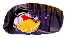 """Image of """"Snow White Running Through the Woods"""" by Genevieve Godbout- Canvas (13"""" x 24"""")"""