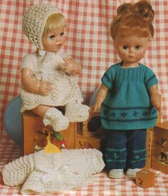 Dolls Clothes PDF Knitting Pattern : 14 inch Doll and 12 inch Baby Dolly . Doll Outfit Pattern . Digital Download by PDFKnittingCrochet on Etsy