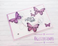 Geburtstagskarte mit dem Stempelset #schmetterlingsglück von #stampinup ❤ #stampinup #stampinupdemo #stampinupdeutschland #stampinupcards… Stampinup, Stampin Up Cards, Instagram, Birth, Cards, Diy Cards, Embossing Folder