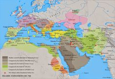 Islamic expansion, 630 to 750CE