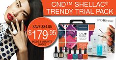 CND Super Savings! - CND™ Shellac® Chic Trial Pack – feminine shades - $179.95 - CND™ SHELLAC® Trendy Trial Pack – bolds and vibrant shades - $179.95 - Brisa® Lite Smoothing Pack & CND Lamp Deal $389.95  - 25% off sculpting liquids and powders  - 20% off Solar Oil  - Buy the CND Shellac Power Polish Nourishing Remover 946ml & receive a 10ct HandsDown cuticle sticks pack free!   All on www.salonfirst.com.au