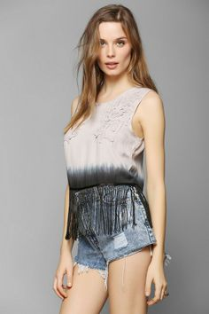 Staring At Stars Fringe Tie-Dye Tank Top #urbanoutfitters