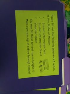 Meet the teacher night...put all informations for parents in their own folder! Great idea, no loose papers left behind!