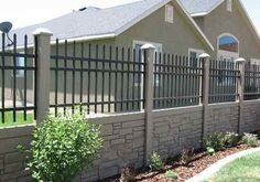 SimTek Faux Rock Fence with Ornamental Aluminum Fence Top by City Fence… Stone Fence, Brick Fence, Front Yard Fence, Metal Fence, Fenced In Yard, Wire Fence, Low Fence, Fence Stain, Lattice Fence