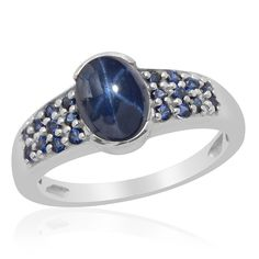 Liquidation Channel: Thai Blue Star Sapphire Diffused, Lab Created Blue Sapphire Ring in Platinum Overlay Sterling Silver (Nickel Free)