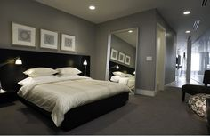 Modern bedroom paint colors modern bedroom colors bedrooms modern traditional homes interior design traditional bedroom colors modern classic bedroom modern Masculine Living Rooms, Grey Bedroom Design, Masculine Bedroom Design, Stylish Bedroom, Small Room Bedroom, Mens Bedroom, Modern Bedroom, Bedroom Colors, Grey Room